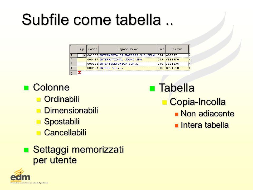 Subfile come tabella .. Tabella Colonne Copia-Incolla