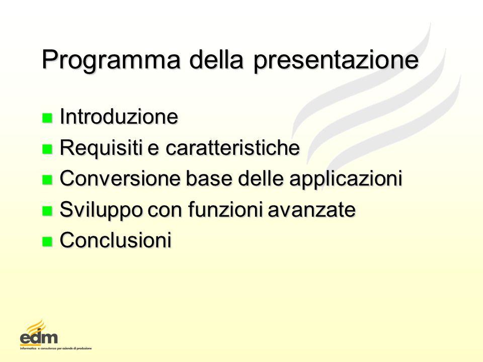 Programma della presentazione
