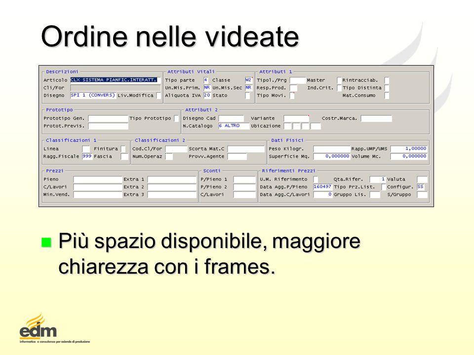 Ordine nelle videate Più spazio disponibile, maggiore chiarezza con i frames.
