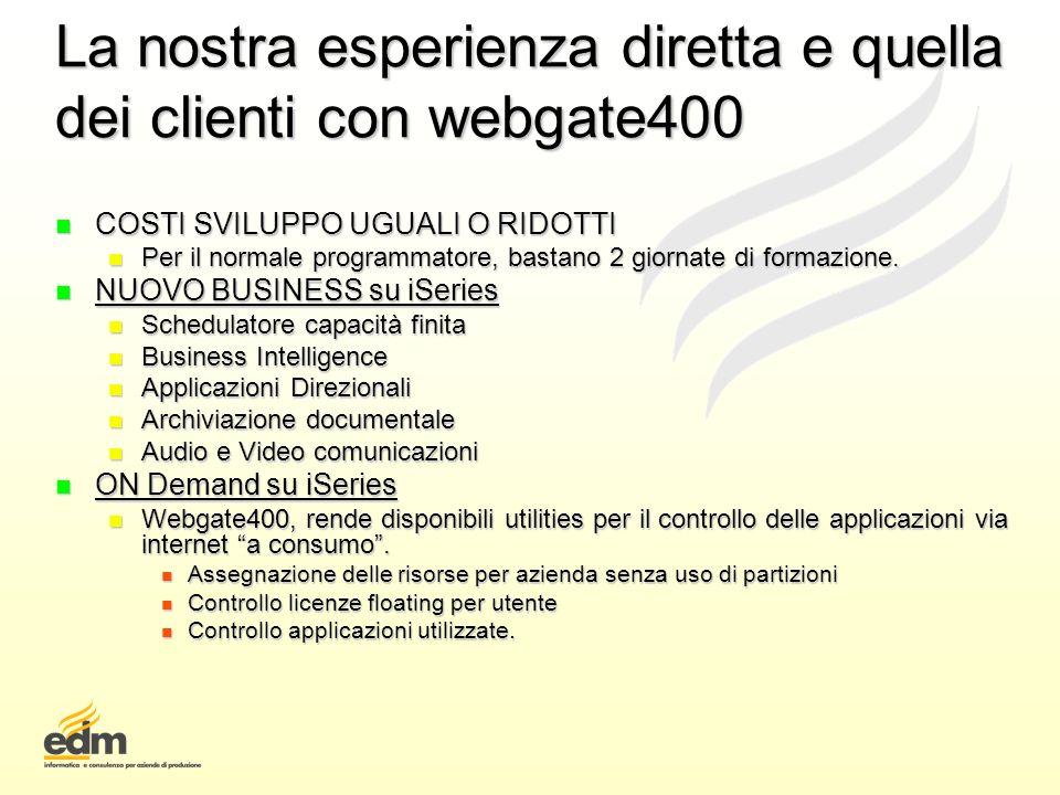 La nostra esperienza diretta e quella dei clienti con webgate400