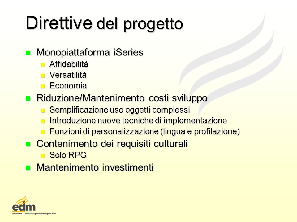 Direttive del progetto