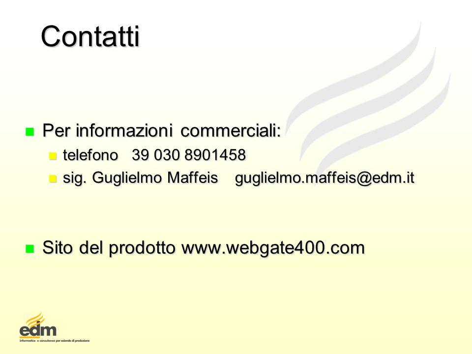 Contatti Per informazioni commerciali:
