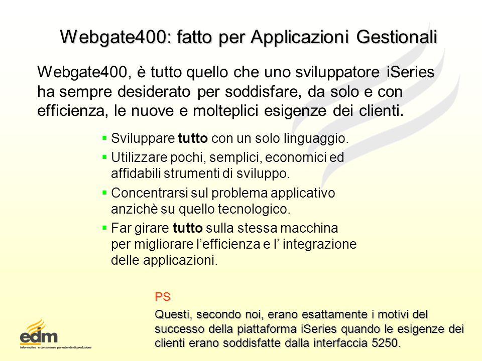 Webgate400: fatto per Applicazioni Gestionali