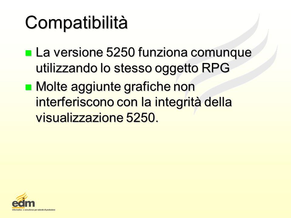 Compatibilità La versione 5250 funziona comunque utilizzando lo stesso oggetto RPG.
