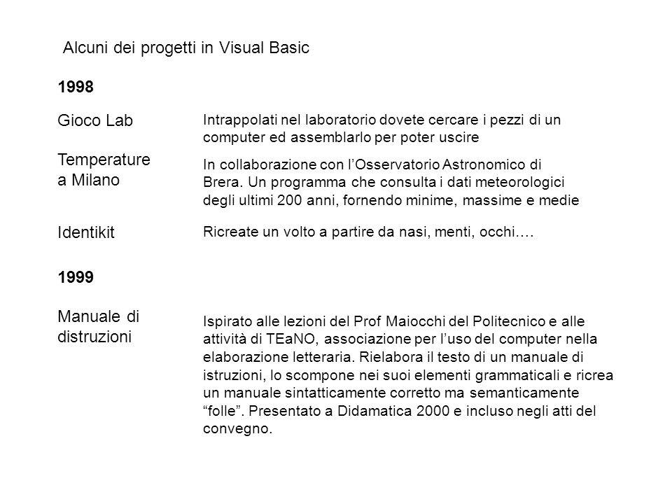 Alcuni dei progetti in Visual Basic