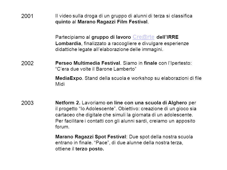 2001 Il video sulla droga di un gruppo di alunni di terza si classifica quinto al Marano Ragazzi Film Festival.