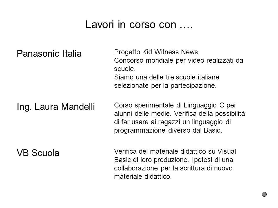 Lavori in corso con …. Panasonic Italia Ing. Laura Mandelli VB Scuola