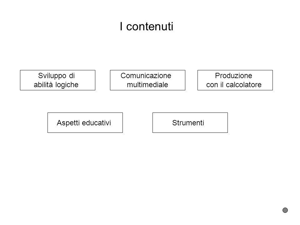 I contenuti Sviluppo di abilità logiche Comunicazione multimediale