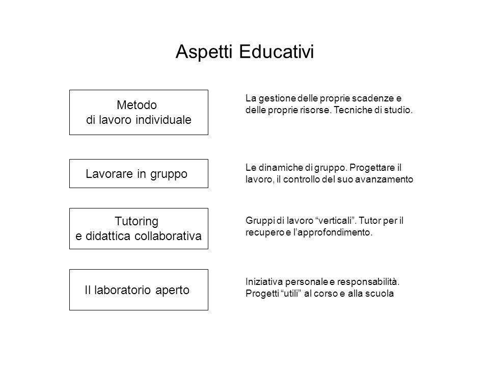 Aspetti Educativi Metodo di lavoro individuale Lavorare in gruppo