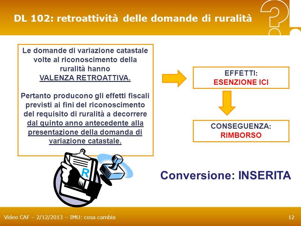 Conversione: INSERITA