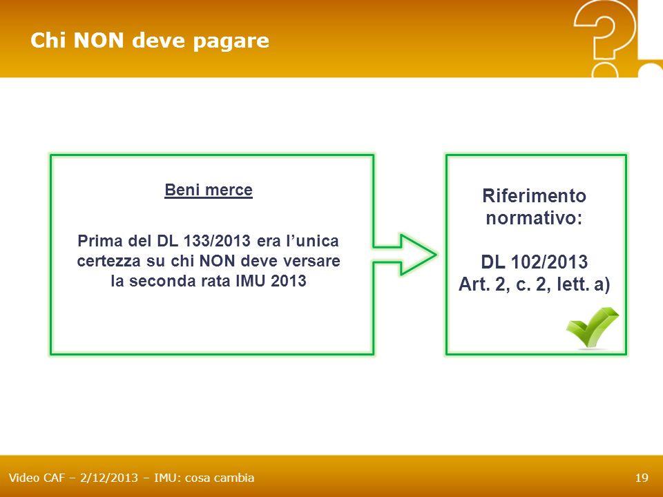 Chi NON deve pagare Riferimento normativo: DL 102/2013