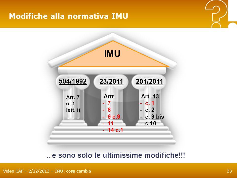IMU Modifiche alla normativa IMU