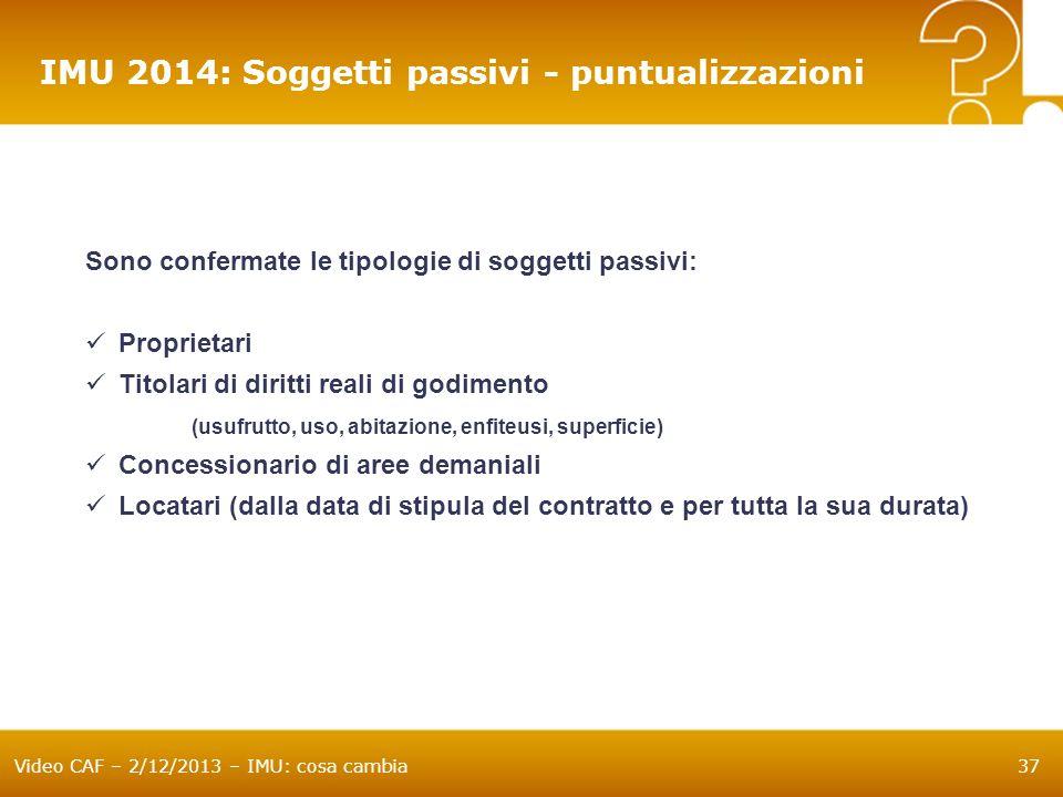 IMU 2014: Soggetti passivi - puntualizzazioni