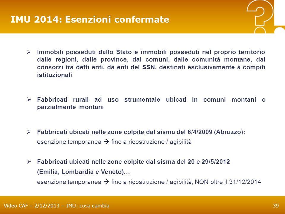 IMU 2014: Esenzioni confermate