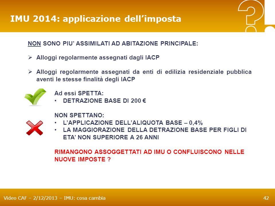 IMU 2014: applicazione dell'imposta