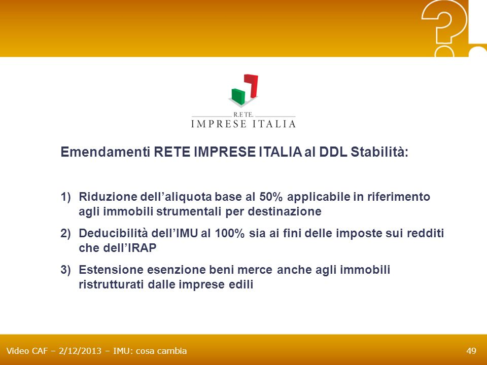 Emendamenti RETE IMPRESE ITALIA al DDL Stabilità: