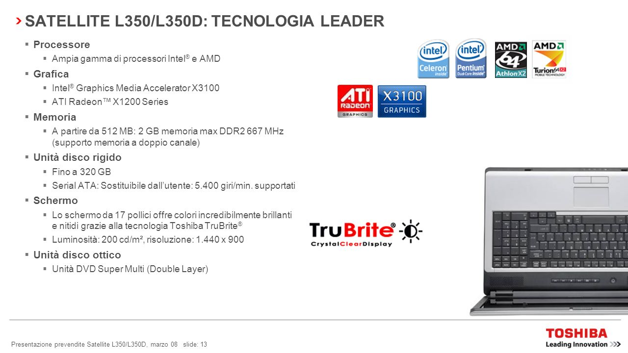 SATELLITE L350/L350D: TECNOLOGIA LEADER