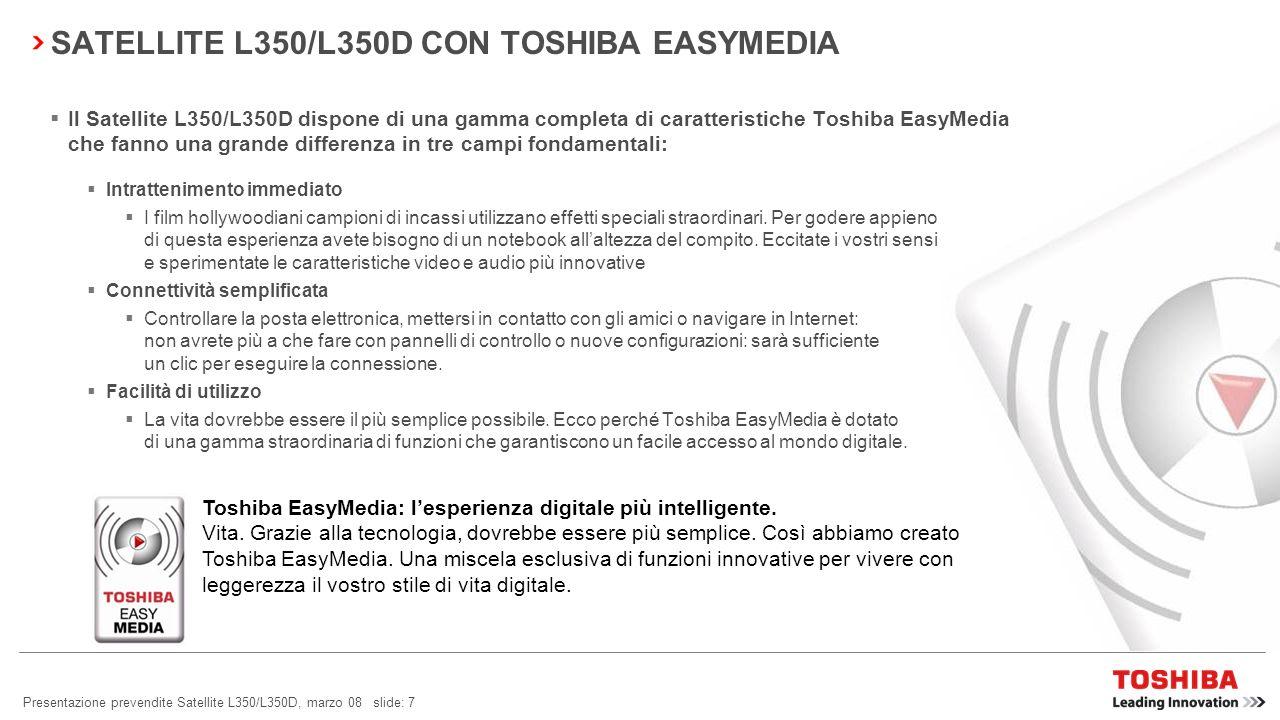 SATELLITE L350/L350D CON TOSHIBA EASYMEDIA