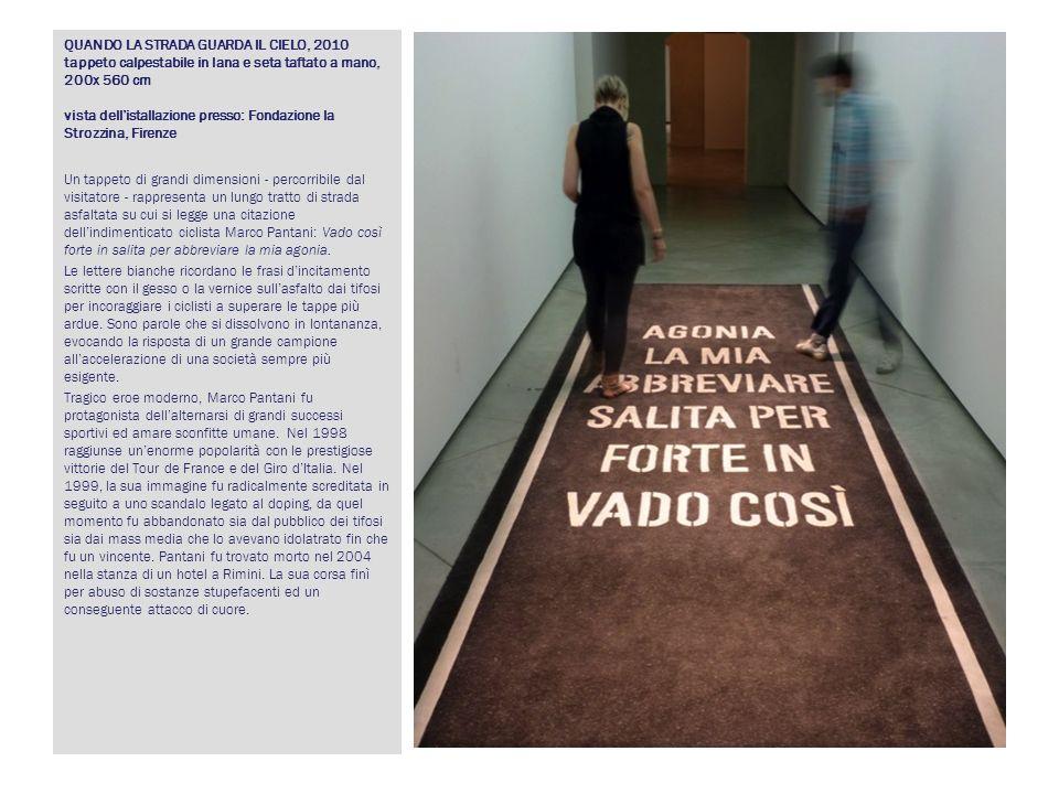 QUANDO LA STRADA GUARDA IL CIELO, 2010 tappeto calpestabile in lana e seta taftato a mano, 200x 560 cm vista dell'istallazione presso: Fondazione la Strozzina, Firenze
