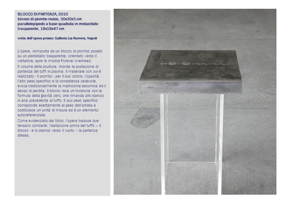 BLOCCO DI PARTENZA, 2010 blocco di piombo inciso, 30x30x5 cm parallelepipedo a base quadrata in metacrilato trasparente, 19x19x47 cm vista dell'opera presso: Galleria Lia Rumma, Napoli