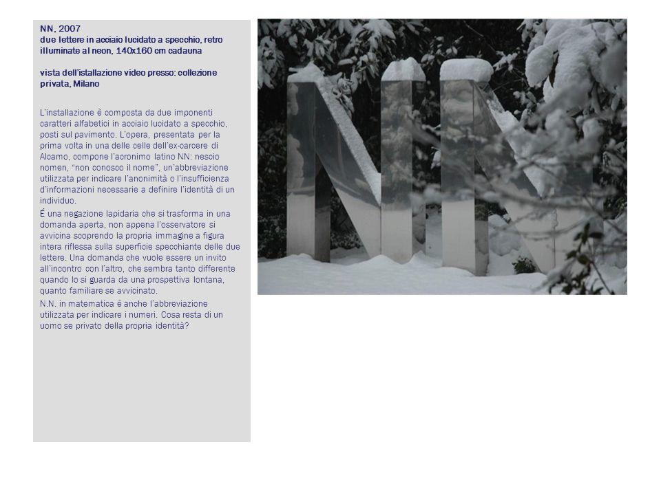 NN, 2007 due lettere in acciaio lucidato a specchio, retro illuminate al neon, 140x160 cm cadauna vista dell'istallazione video presso: collezione privata, Milano