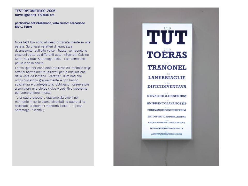 TEST OPTOMETRICO, 2006 nove light box, 160x40 cm particolare dell'istallazione, vista presso: Fondazione Merz, Torino