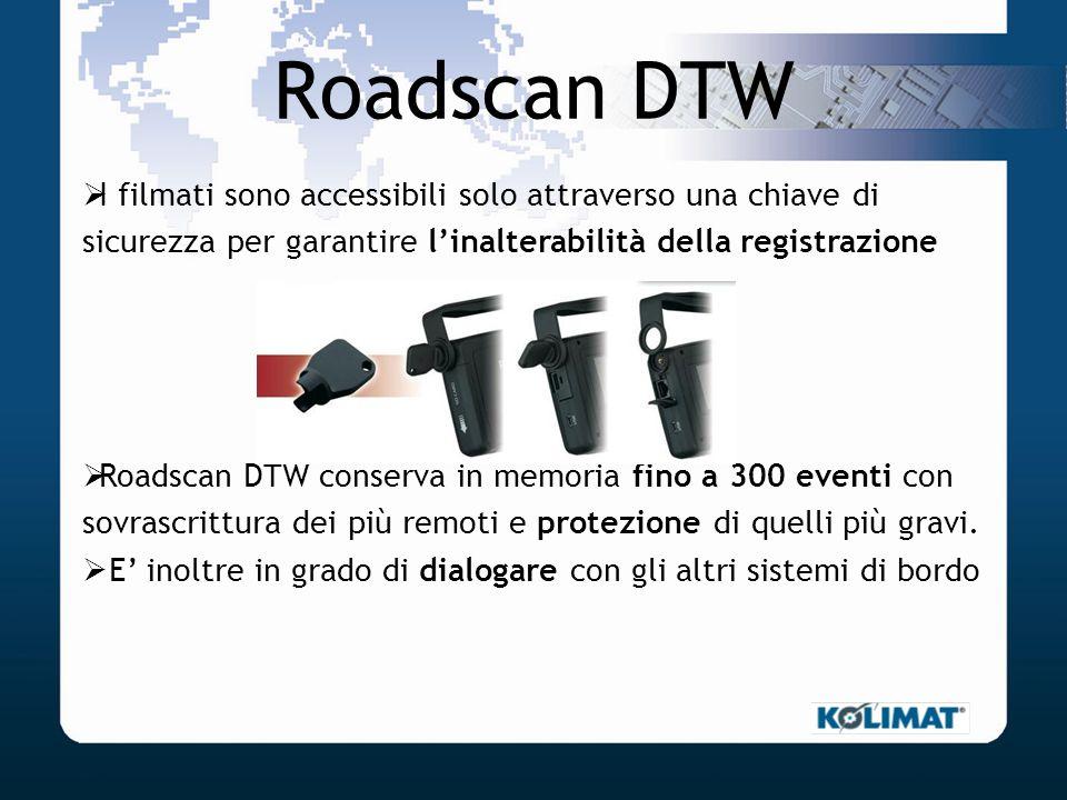 Roadscan DTW I filmati sono accessibili solo attraverso una chiave di sicurezza per garantire l'inalterabilità della registrazione.
