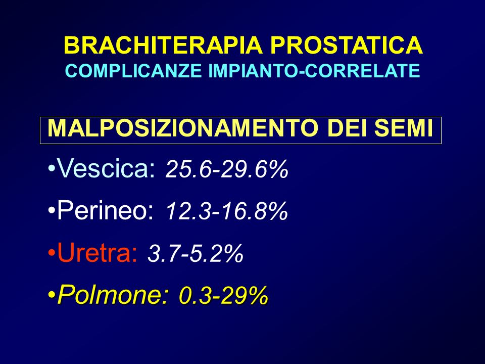 BRACHITERAPIA PROSTATICA COMPLICANZE IMPIANTO-CORRELATE