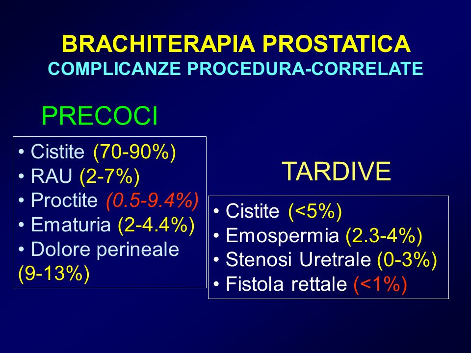 BRACHITERAPIA PROSTATICA COMPLICANZE PROCEDURA-CORRELATE