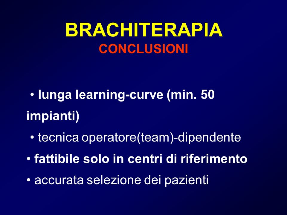 BRACHITERAPIA CONCLUSIONI