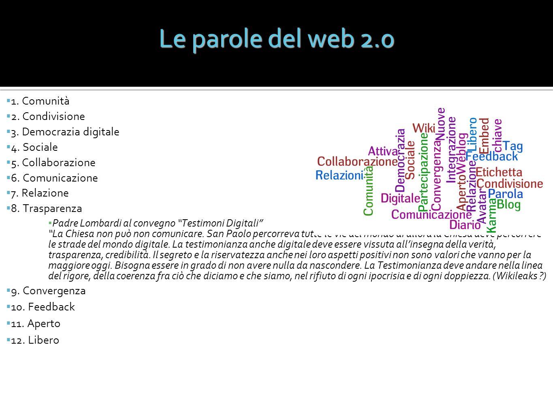 Le parole del web 2.0 1. Comunità 2. Condivisione