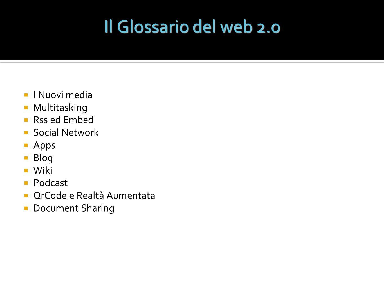 Il Glossario del web 2.0 I Nuovi media Multitasking Rss ed Embed
