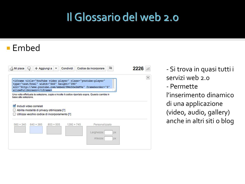Il Glossario del web 2.0 Embed