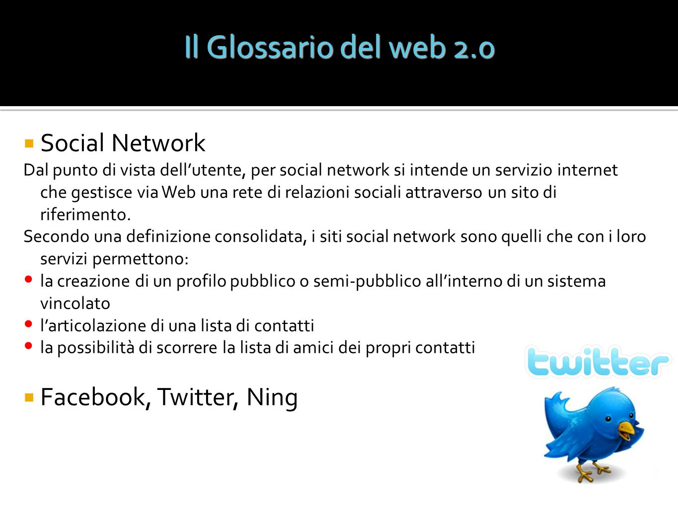 Il Glossario del web 2.0 Social Network Facebook, Twitter, Ning
