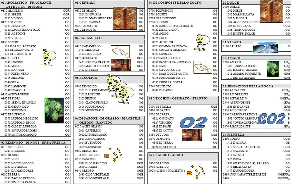 CO2 In questo schema sono stati codificati gli aromi riconducibili ai 14 settori dell'aruota dellll'aroma.