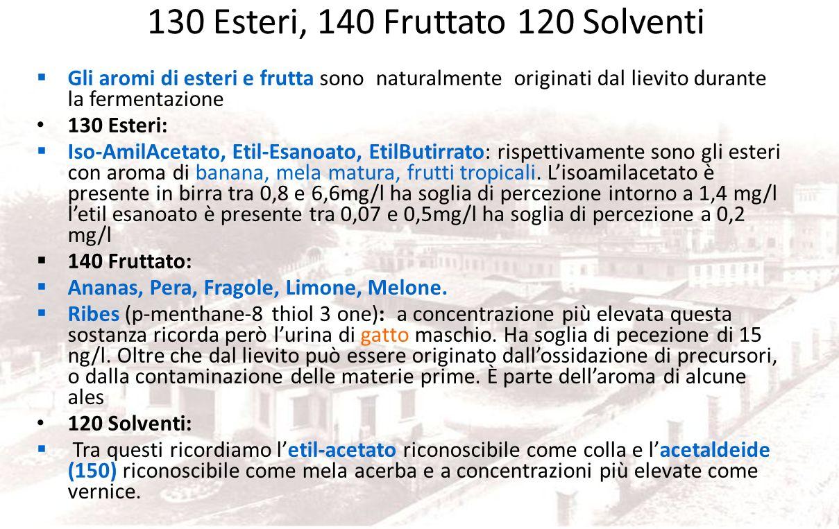 130 Esteri, 140 Fruttato 120 Solventi