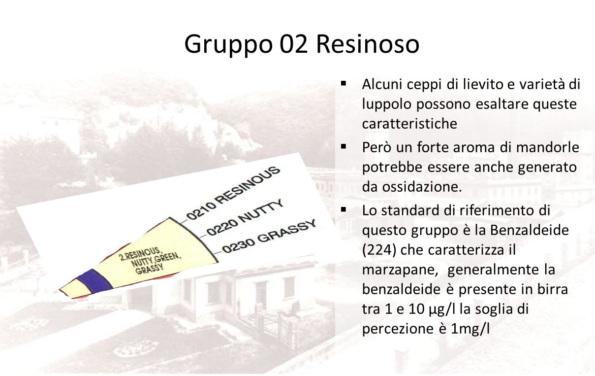 Gruppo 02 Resinoso Alcuni ceppi di lievito e varietà di luppolo possono esaltare queste caratteristiche.