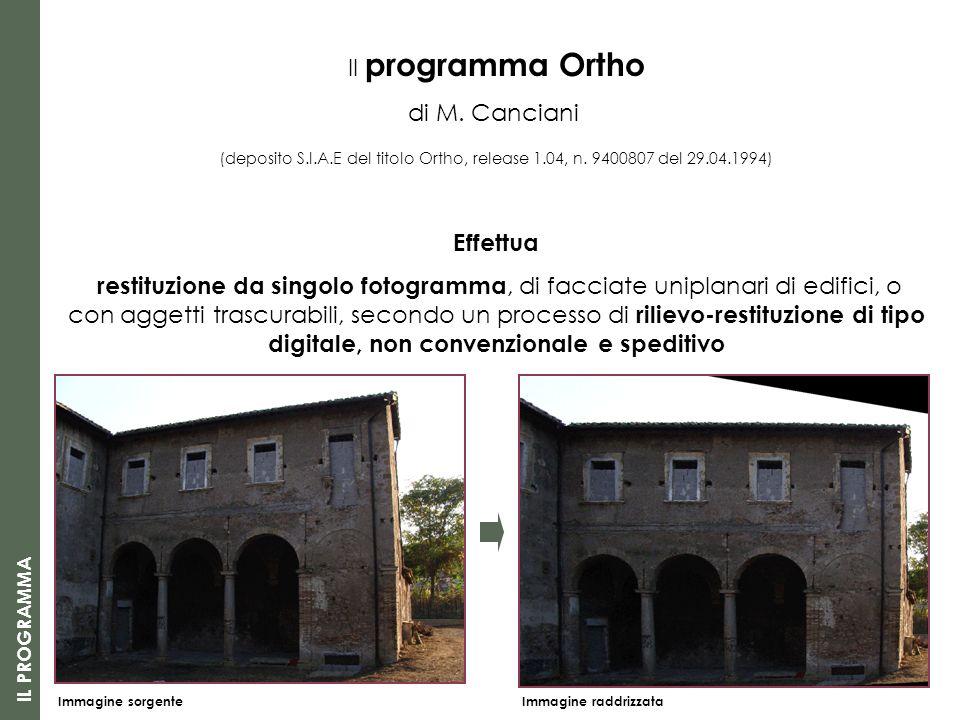 Il programma Ortho di M. Canciani Effettua