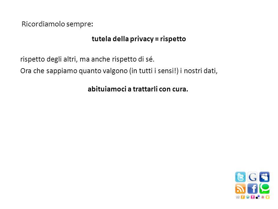 Ricordiamolo sempre: tutela della privacy = rispetto. rispetto degli altri, ma anche rispetto di sé.