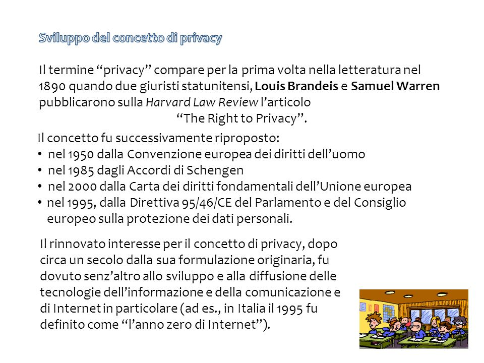 Sviluppo del concetto di privacy