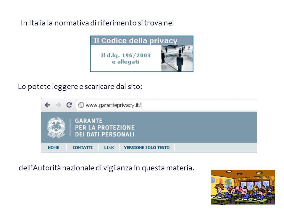 In Italia la normativa di riferimento si trova nel