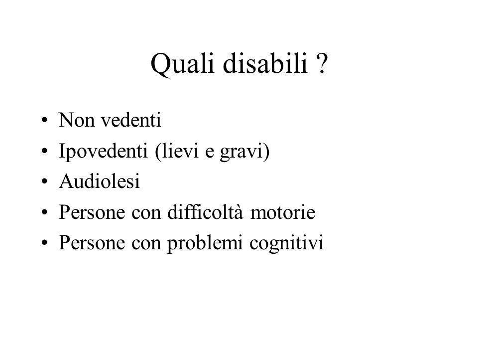 Quali disabili Non vedenti Ipovedenti (lievi e gravi) Audiolesi