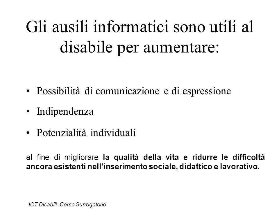 Gli ausili informatici sono utili al disabile per aumentare: