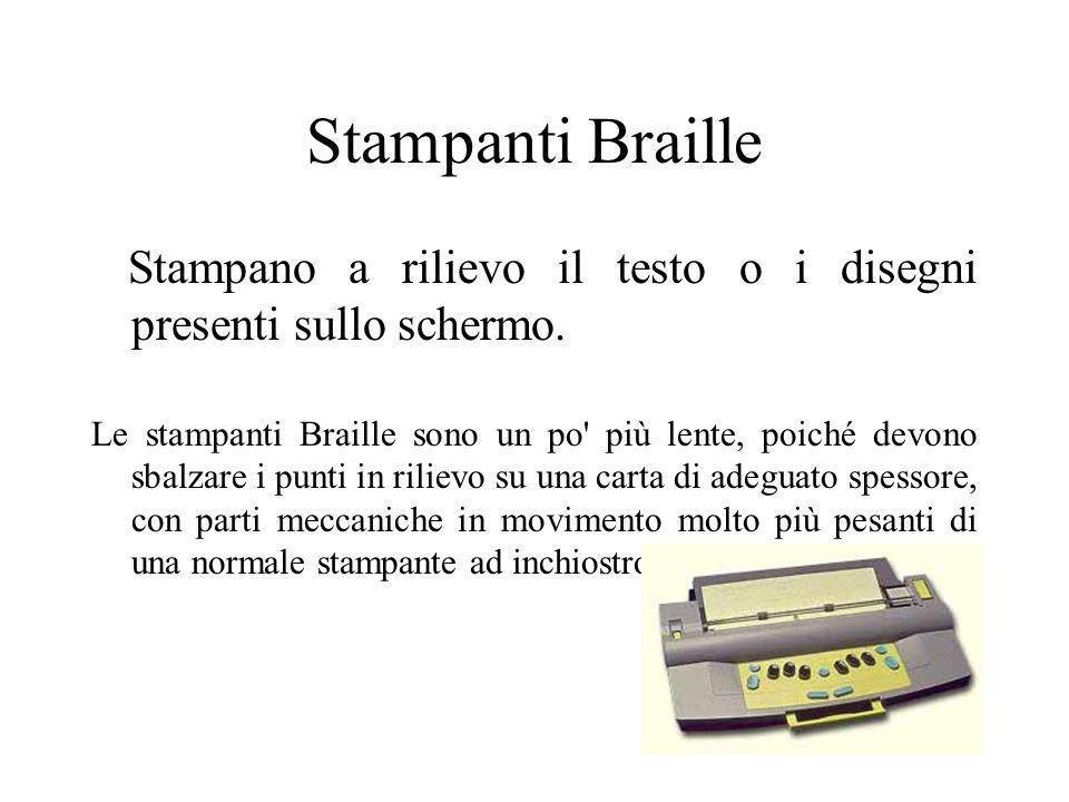 Stampanti Braille Stampano a rilievo il testo o i disegni presenti sullo schermo.