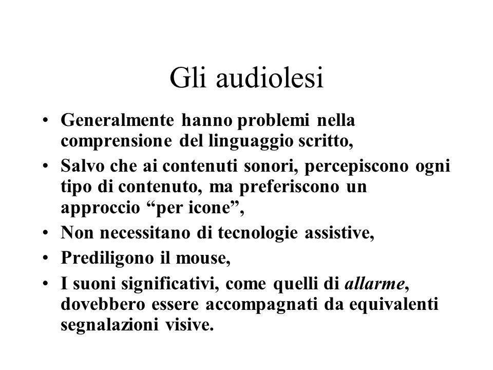Gli audiolesi Generalmente hanno problemi nella comprensione del linguaggio scritto,
