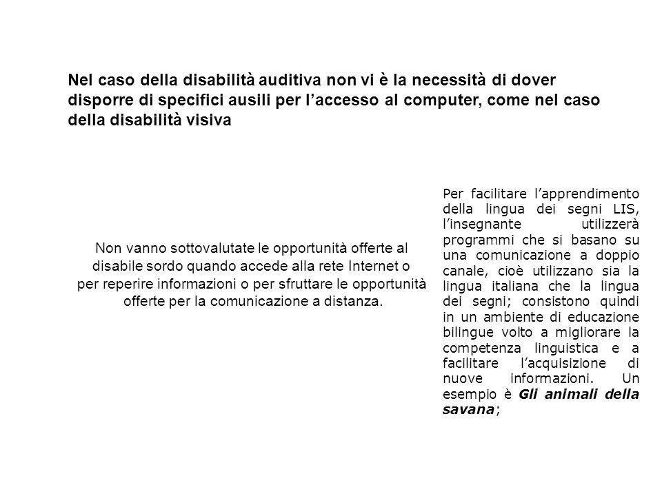 Nel caso della disabilità auditiva non vi è la necessità di dover disporre di specifici ausili per l'accesso al computer, come nel caso della disabilità visiva