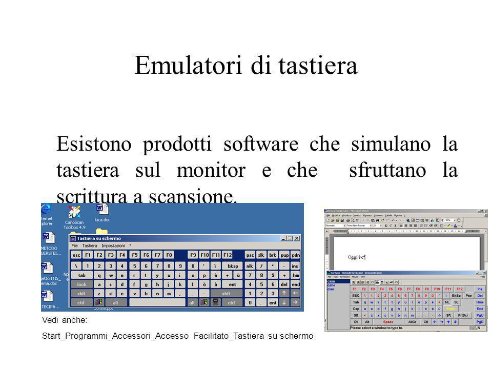 Emulatori di tastieraEsistono prodotti software che simulano la tastiera sul monitor e che sfruttano la scrittura a scansione.