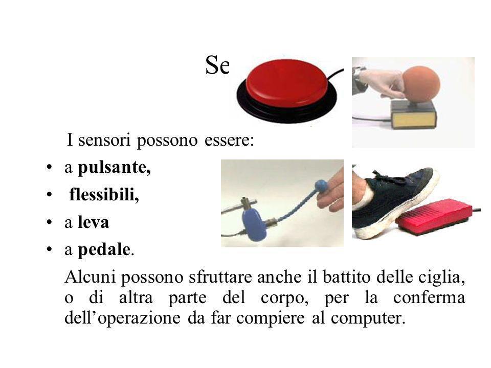 Sensori a pulsante, flessibili, a leva a pedale.