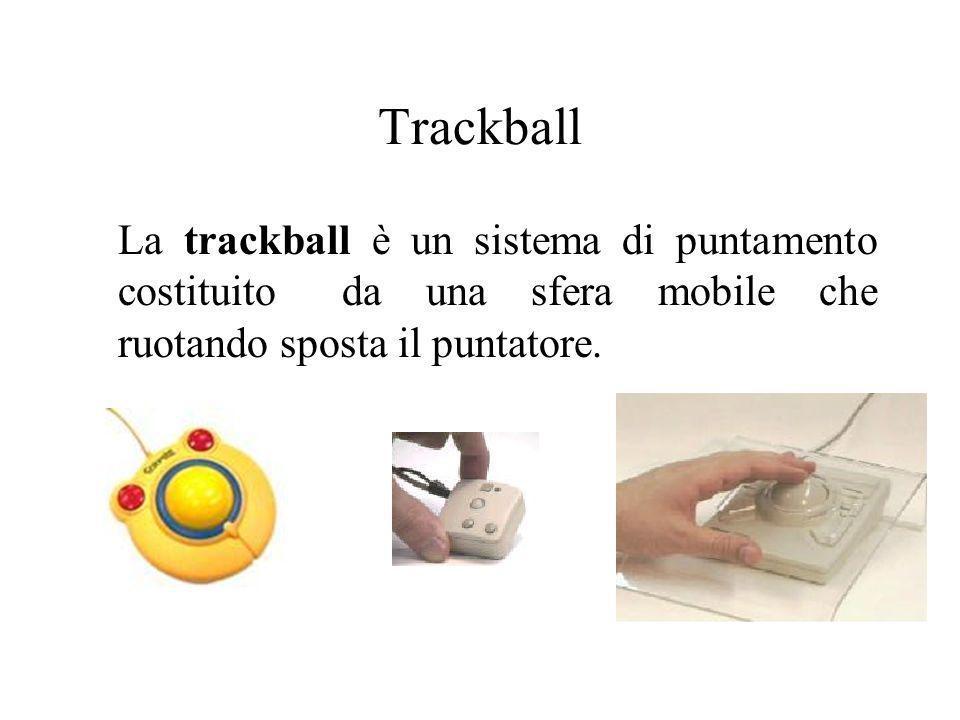TrackballLa trackball è un sistema di puntamento costituito da una sfera mobile che ruotando sposta il puntatore.