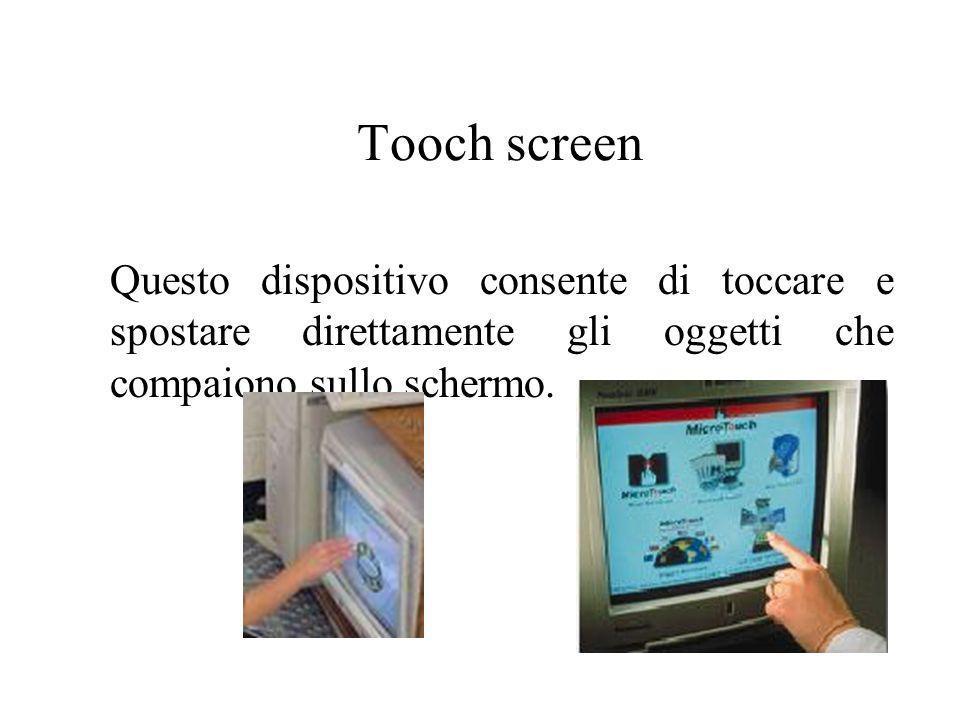 Tooch screen Questo dispositivo consente di toccare e spostare direttamente gli oggetti che compaiono sullo schermo.